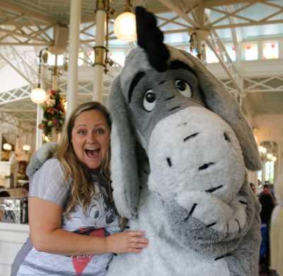Eeyore and I at the Crystal Palace at Magic Kingdom