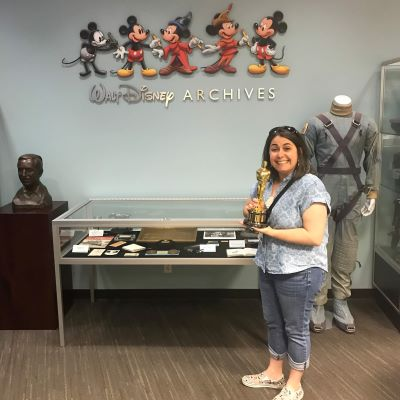 I got to pose with an Oscar at the Walt Disney Archives during a visit to the Walt Disney Studios in California