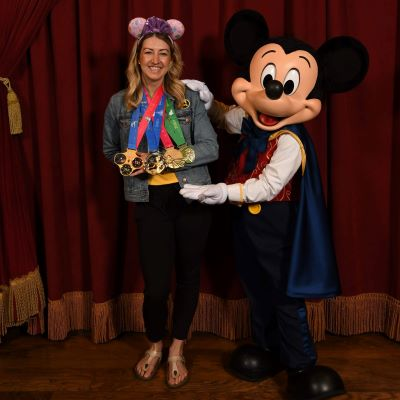 Mickey checking out the runDisney medals