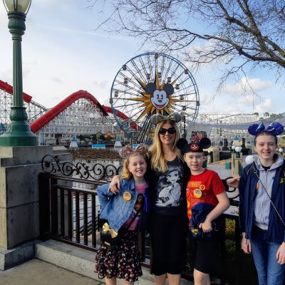 California Adventure Park with my 3 children on our very first visit.
