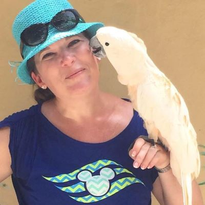 Just hanging out with a parrot during a Disney Cruise Line port excursion in Nassau, Bahamas.