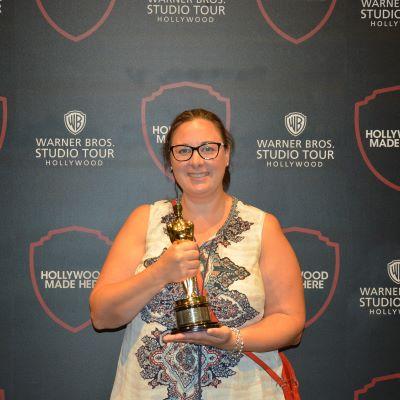 Holding an Oscar at the Warner Bros Studio Tour Hollywood