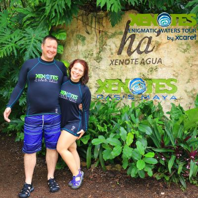 My husband and I on an adventure at Xcaret Mexico Zenotes